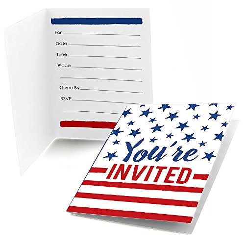 Big Dot of Happiness Stars & Stripes - Fill in Memorial Day USA Patriotic Party Invitations (8 Count)