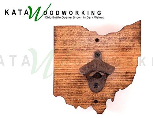 Ohio Shaped Wood Cutout Bottle Opener  Wall Mount  Handmade