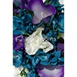 Silk-Blooms-Ltd-Modern-Teal-and-Purple-Calla-Lily-Freesia-Bridesmaid-Bouquet