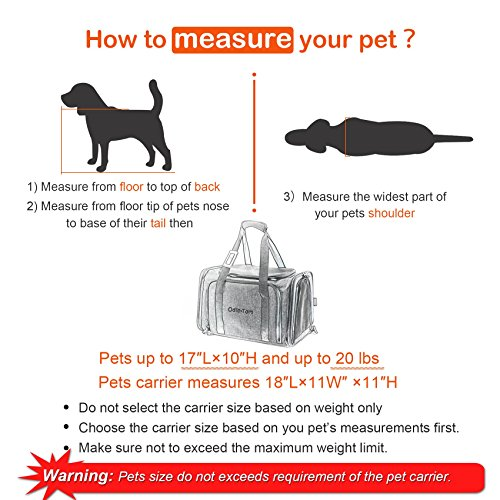 Pet Carrier for Dogs & Cats - Airline Approved Expandable waterproof Soft Animal Carriers -Portable Soft-Sided Air Travel Bag- Eco-friendly material Roomy With a Side Pocket and a Fleece Bed by Odie Tom (Image #5)