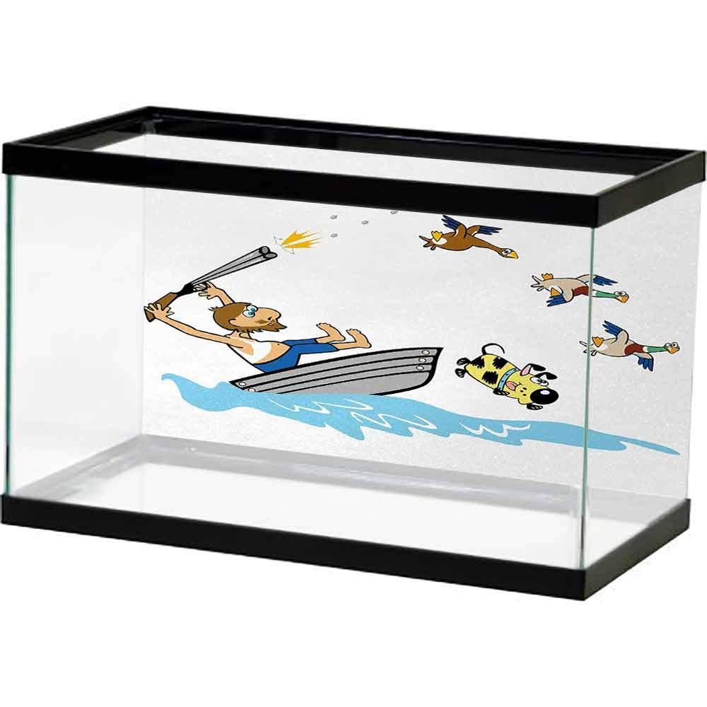 bybyhome Fish Tank Hunting,Boating Aged Man Shooting Wild Ducks and Funny Dog Falling Into Water Cartoon Style,Multicolor Bright Color by bybyhome