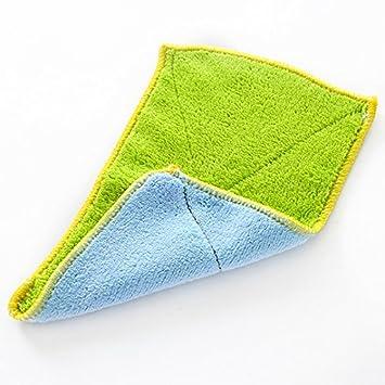 CWAIXX Inicio cocina doble absorbente aceite espesado pelusa paño cocina toalla plato microfibra para toallas limpias 5158 Azul-verde: Amazon.es: Hogar