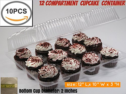 12 Cupcake Carrier Container Box Cupcake Boxes Cupcake Containers,12 Cupcake Container Cupcake Box (10, 12 Pack Cupcake Containers)