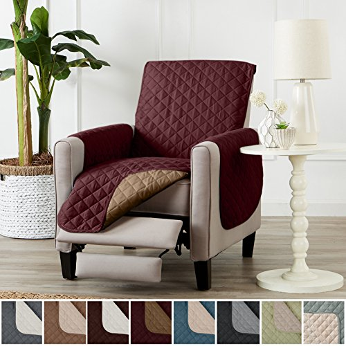 Deluxe Reversible Quilted Furniture Protector and PET PROTECTOR. Two Fresh Looks in One. Perfect for Families with Pets and Kids. By Home Fashion Designs Brand. (Recliner - Burgundy / Taupe) Burgundy Recliner