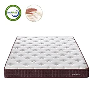 LANGRIA Essential 8-Inch Size Plush High Density Memory Foam Mattress with Dual Layer, Stereoscopic, Hypoallergenic Bamboo Cover, CertiPUR-US Certified, Queen Size