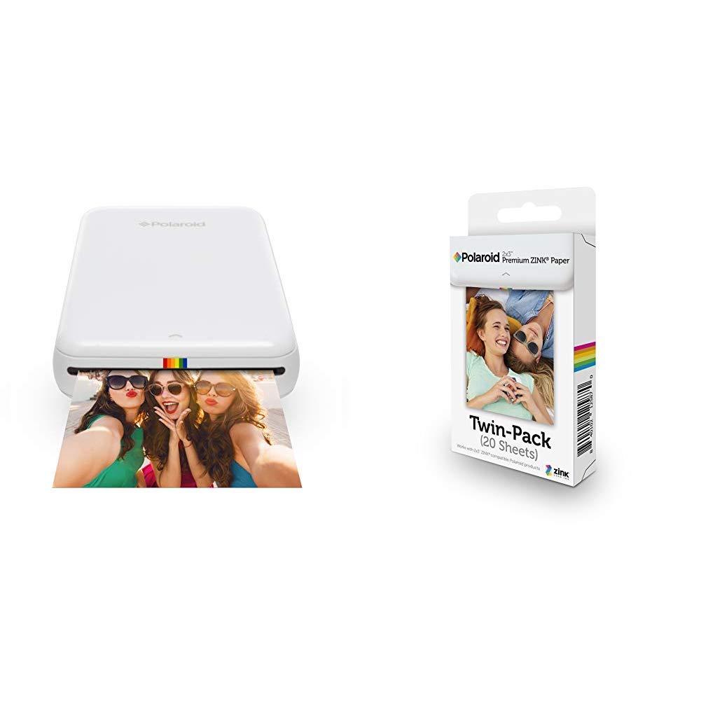 Polaroid Zip Wireless Mobile Photo Mini Printer (White) Compatible w/iOS &  Android, NFC & Bluetooth Devices & 2x3ʺ Premium Zink Zero Photo Paper