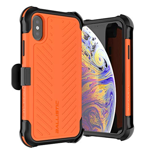 New Ballistic Tough Jacket Maxx Series – iPhone X/Xs - Sleek Rugged Six-Sided Drop Protection 8ft Impact Absorption Reinforced Corners Case with Holster and Tempered Glass Screen Protector (Orange) orange iphone 8 case 14