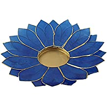The Crabby Nook Lotus Candle Holder Capiz Shell Flat 2 Layer Decorating Accent Home Decor Gift Ideas, Royal Blue
