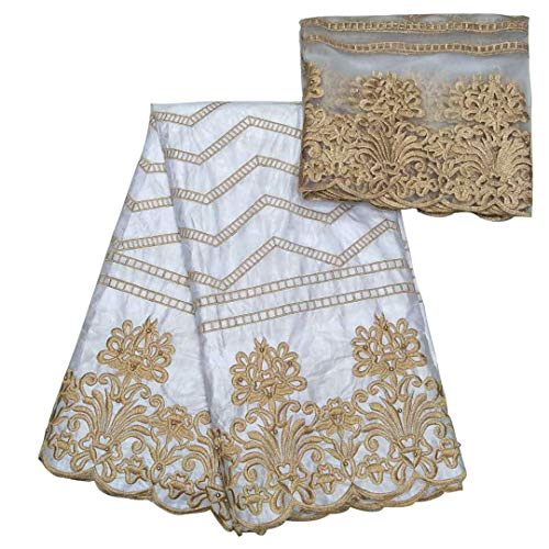 H D African Bazin Riche Getzner Broder Fabric Embroidery Pattern Cloth French Net Lace for Wedding 5 +2 Yards, White