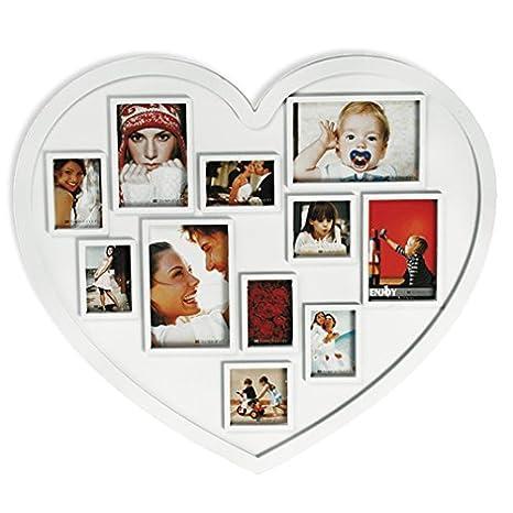 Xxl Corazón Marco de fotos,Portaretratos corazón, para 11 Fotos - imágenes Forma De Corazón Blanco: Amazon.es: Hogar