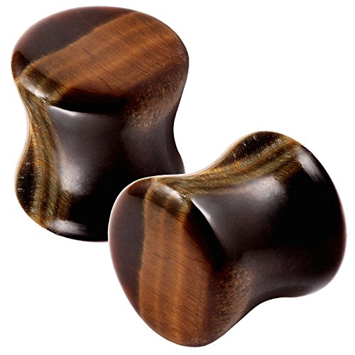 bodyjewellery 2pcs Double Flared Ear Gauges Plugs Flesh Earrings Organic Tiger Eye Stone Stretcher Expander Saddle - 10mm