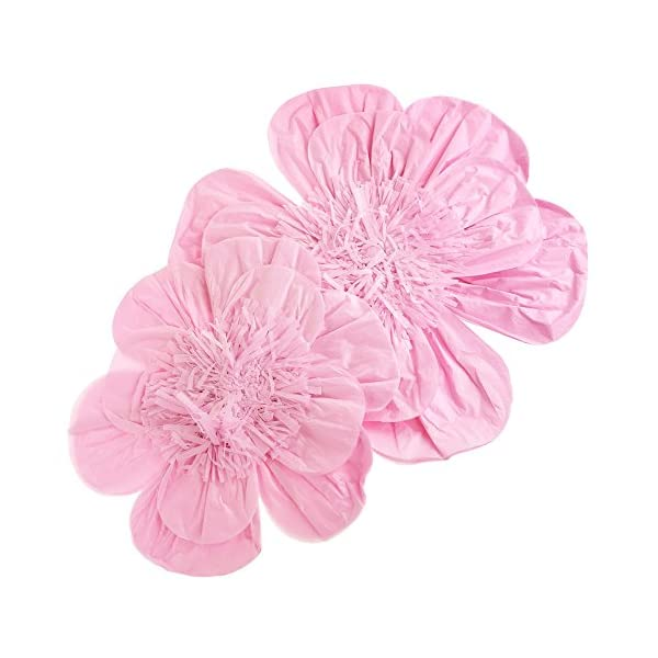 Homeford Paper Scalloped Magnolia Wall Flower, Assorted Sizes, 2-Piece (Pink)