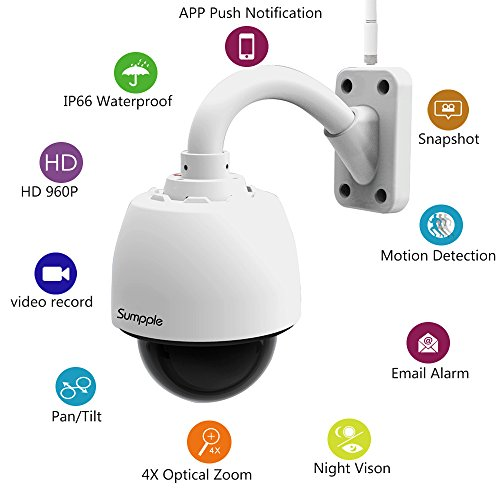 Sumpple Wireless WiFi/Wired PTZ Outdoor Surveillance Internet IP Camera 960P 4X Optical Zoom Motion Sensor Activated with 8G SD Card Waterproof Night Vision Up to 98ft, Work for IOS, Android (Network Dome Camera Digital Video)