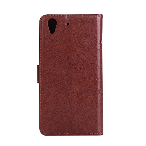 Huawei Y6II Hülle - TianTa - [Abnehmbare Magnetische] PU Leder Geprägt Muster mit 2 in 1 Buchstil Folio Flip Magnetic Stand-Funktion für Huawei Honor 5A / Huawei Y6II (5.0) - Lila Braun