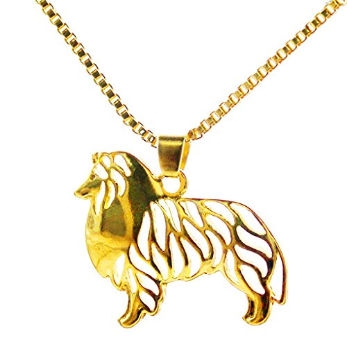 Gold Shetland Sheepdog - Us-DeSiGn : Shetland Sheepdog Pendant Animal Dog Necklaces Gold Chain Charms For Pet Lovers handmade Dog Jewelry Store