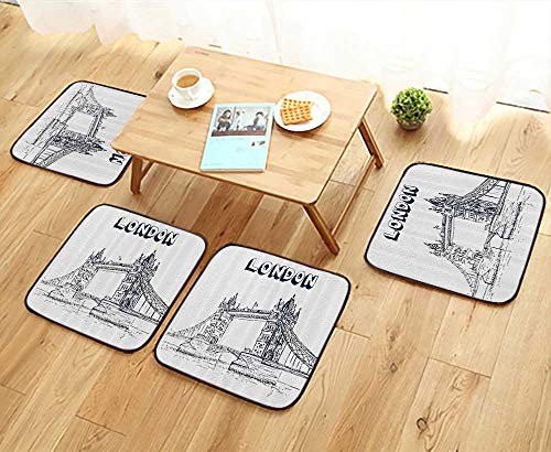Printsonne Fillet Chair Cushion eHistoricaln and Bus Great ll Clock Tower UK Europe StreLandmark Suitable for The Chair W13.5 x L13.5/4PCS Set (Uk Chair Hanging Wicker)