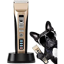Dog Hair Clippers oneisall Low Noise Cordless Rechargeable Pet Grooming Clipper,Professional Heavy Duty Pet Grooming Clippers for Thick Hair Dogs, Cats and Horses