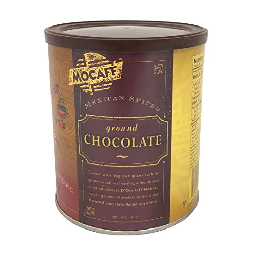 MOCAFE Azteca D'oro 1519 Mexican Spiced Ground Chocolate, 14-Ounce Tins (Pack of 4) Instant Frappe Mix, Coffee House Style Blended Drink Used in Coffee Shops