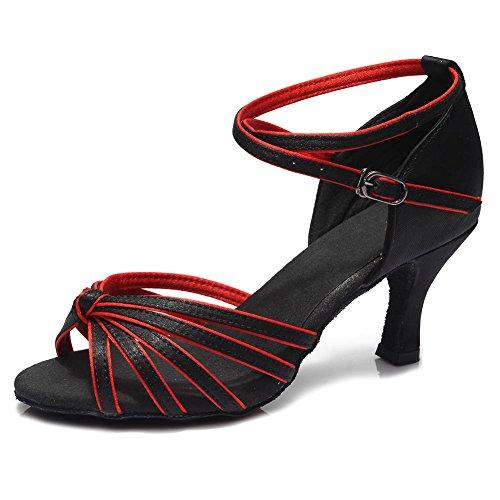 Roymall Womens Satin Latinska Dansskor Modell 217 7cm Svart + Röd