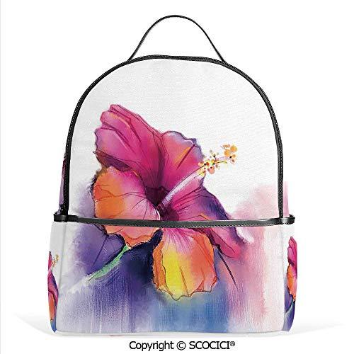 (Lightweight Chic Bookbag Hibiscus Flower in Pastel Abstract Romantic Petal Pattern,Orange Purple,Satchel Travel Bag Daypack)
