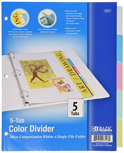 3 Ring Index 5 Tab - BAZIC 3-Ring Binder Dividers w/ 5-Insertable Color Tabs