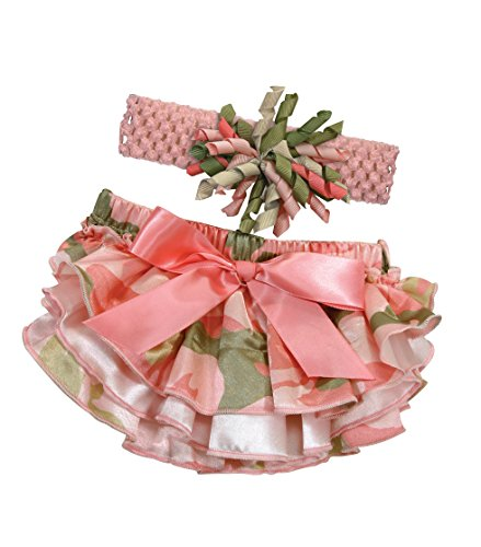 Stephan Baby Ruffled Diaper Cover and Curly Bow Headband Set, Pink Camo, 12-18 Months
