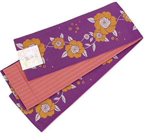 災害見捨てる記者半幅帯 レディース 花模様 紫色 ピンク色 リバーシブル 日本製 N2587