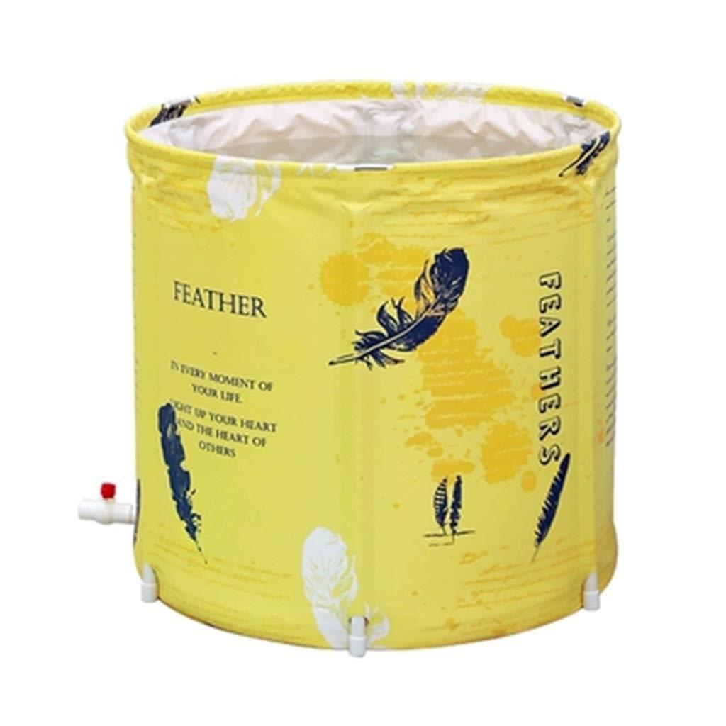 Folding bathtub Household Insulation Bath Female Full Body Bath Barrel Adult Bath Drum Steaming Bucket Gift (Color : Yellow, Size : 656568cm)