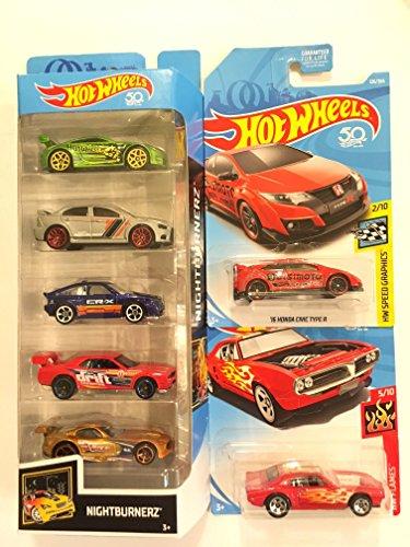 Firebird Type (2018 Hot Wheels NIGHTBURNERZ 5 pack & BONUS: Hot Wheels 2018 HW Speed Graphics '16 Honda Civic Type R & Hot Wheels Hw Flames Custom '67 Pontiac Firebird)