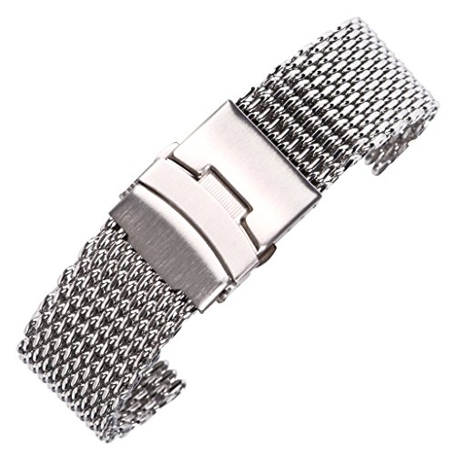 Milanese Watch Band Chain Mesh Watch Belt Solid 304 Stainless Steel Polished Finish ()