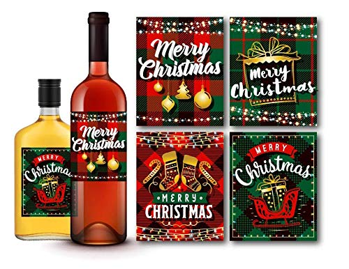 Set of 4 Merry Christmas Plaid Green/Red Wine and Liquor Bottle Labels, Holiday Gift Ideas and Decorations, Christmas Party Favors (Merry Christmas Labels Printable)