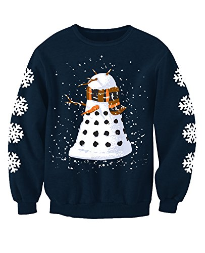 Snowy Dalek Doctor Who Inspired Adults Novelty Christmas Printed Sweatshirt Jumper Medium