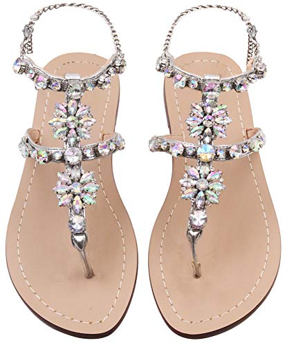 JF shoes Women's Flat Sandals Crystal Rhinestone Beaded Bohemian Dress Flip-Flop Gladiator Shoes Size 9.5-10, Silver
