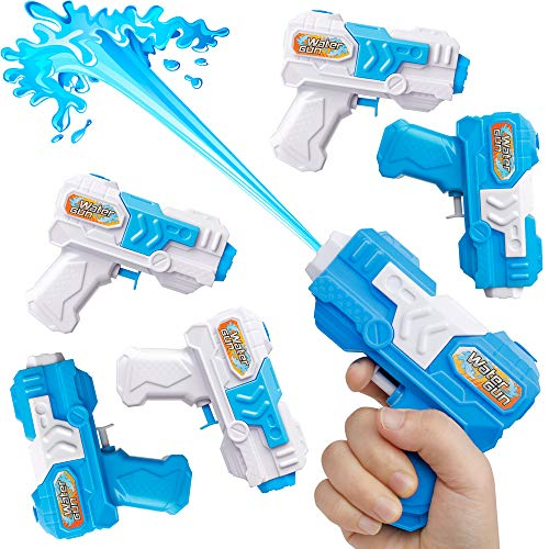 D-FantiX Water Gun 6 Pack, Small Water Blaster Soaker Squirt Guns Bulk for Water Fighting Summer Pool Beach Party Favors Toy for Kids Boy Girl -
