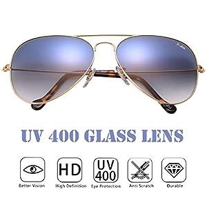 O-LET Blue Aviator Sunglasses for Women Men with Sun Glass Lens 100% UV Protection
