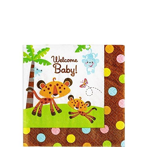 (amscan Safari Welcome Baby Beverage Napkins 16ct | Baby Shower)
