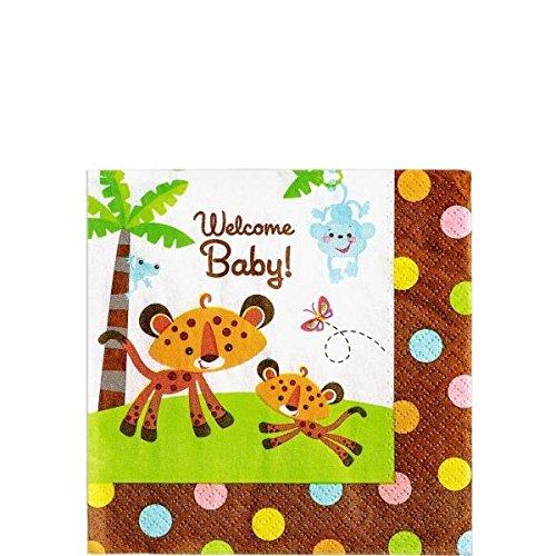 amscan Safari Welcome Baby Beverage Napkins 16ct | Baby Shower