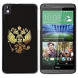 TopCaseStore / la caja del caucho duro de la cubierta de protección de la piel - Royal Golden Phoenix Eagle Crest - HTC DESIRE 816