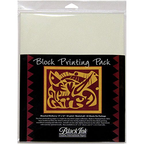 - Black Ink 9-Inch by 12-Inch Bleached Mulberry Block Printing Paper, 25-Pack