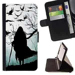 GREY BLACK HALLOWEEN CROW WITCH OLD/ Personalizada del estilo del dise???¡Ào de la PU Caso de encargo del cuero del tir????n del soporte d - Cao - For Samsung Galaxy S4 Mini i9190