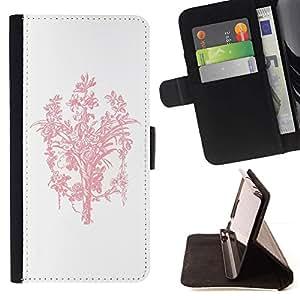 For HTC One Mini 2 M8 MINI Case , Ramo rosado blanco minimalista Limpio- la tarjeta de Crédito Slots PU Funda de cuero Monedero caso cubierta de piel