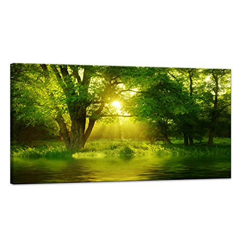 bb73ca4270e HUADAOART Canvas Prints Wall Art Nature Painting Modern Large Panoramic Canvas  Artwork Contemporary Pictures Green Trees Roads Sunrise Forest Landscape  for ...