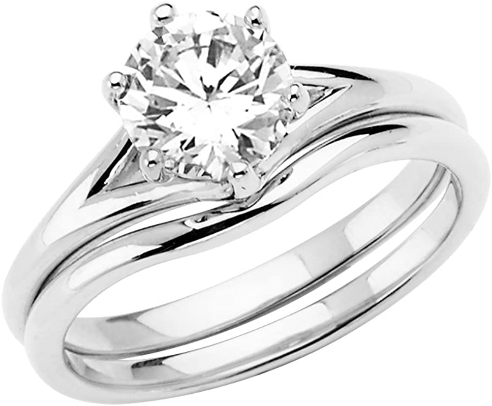 This is a picture of Amazon.com: Sonia Jewels 44k White Gold Cubic Zirconia CZ Wedding