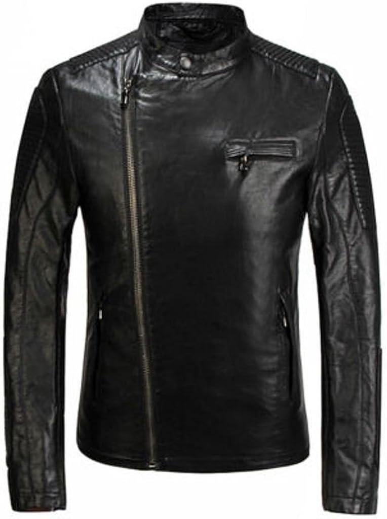 Prim Leather Mens Lambskin Leather Bomber Biker Jacket Black
