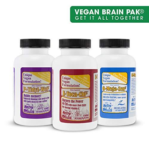 - NuTru Vegan Brain Pack, 3 Bottles, Omega Zen DHA Vitamin E, 40 Veggie Caps Each