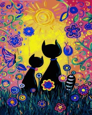 baodanla Pintura al óleo sin Marco Gatos Coloridos D Imagen Ng y caligrafía Ng por números Colorear por número50x70cm: Amazon.es: Hogar