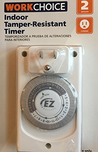 Tamper-Resistant Timer Indoor with Outlets by WorkChoice