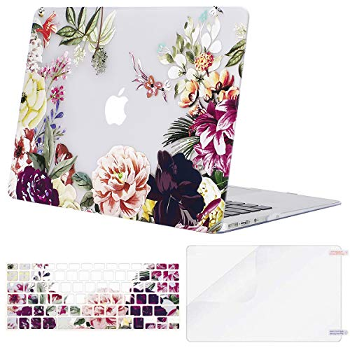 - MOSISO MacBook Air 13 Inch Case (A1369 & A1466, Older Version 2010-2017 Release), Plastic Flower Pattern Hard Shell&Keyboard Cover&Screen Protector Only Compatible MacBook Air 13, Rose Leaves