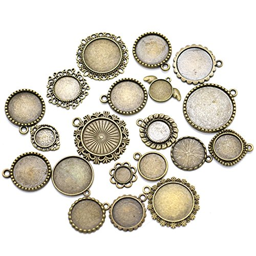 20 Pieces Different Cabochon Frame Settings Picture Frame Charm Pendants for DIY Jewelry ()