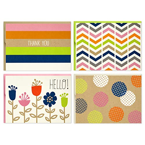 Hallmark Blank Cards (Stripes, Dots, Flowers, 40 Cards with Envelopes) ()